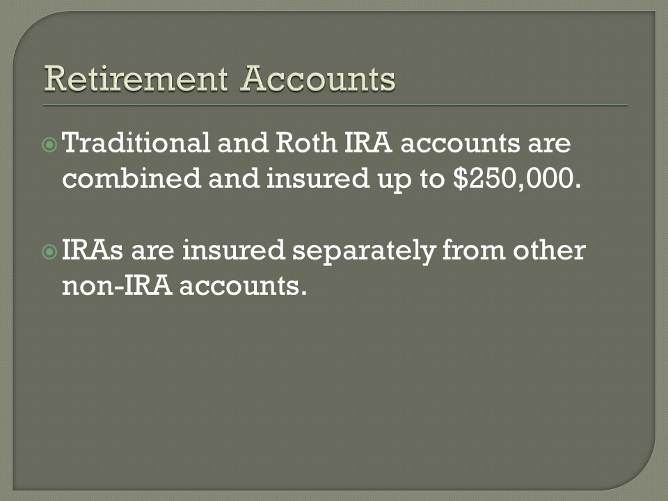 Traditional and Roth IRA accounts are combined and insured up to $250,000.