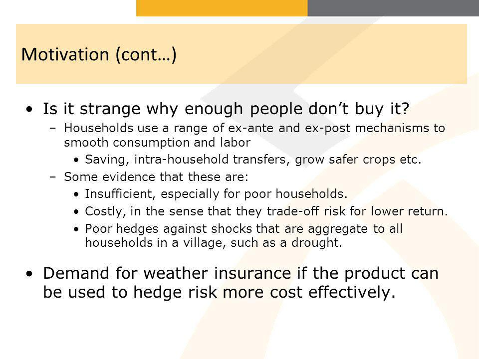 Motivation (cont…) Is it strange why enough people dont buy it? –Households use a range of ex-ante and ex-post mechanisms to smooth consumption and la