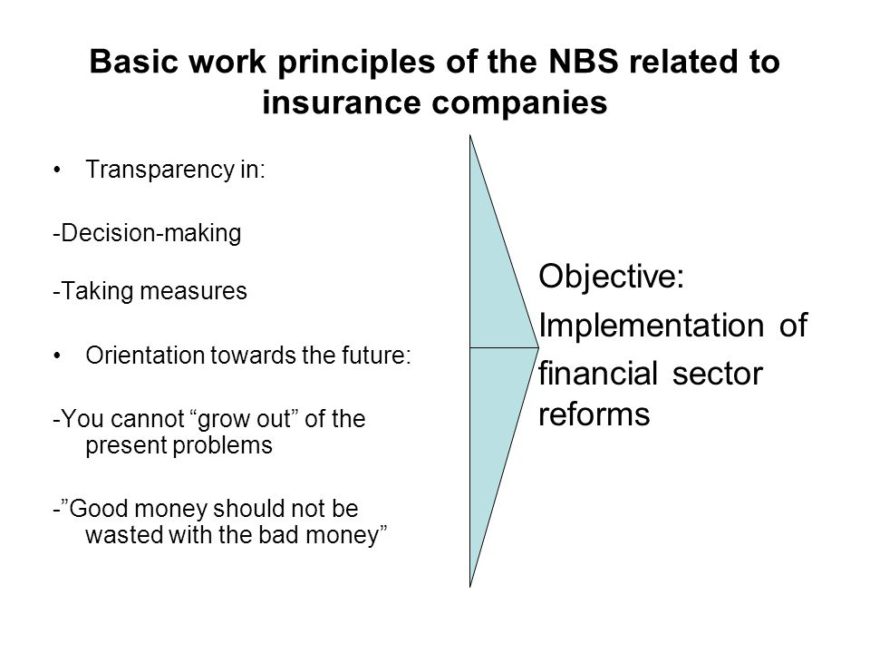 Basic work principles of the NBS related to insurance companies Transparency in: -Decision-making -Taking measures Orientation towards the future: -You cannot grow out of the present problems -Good money should not be wasted with the bad money Objective: Implementation of financial sector reforms