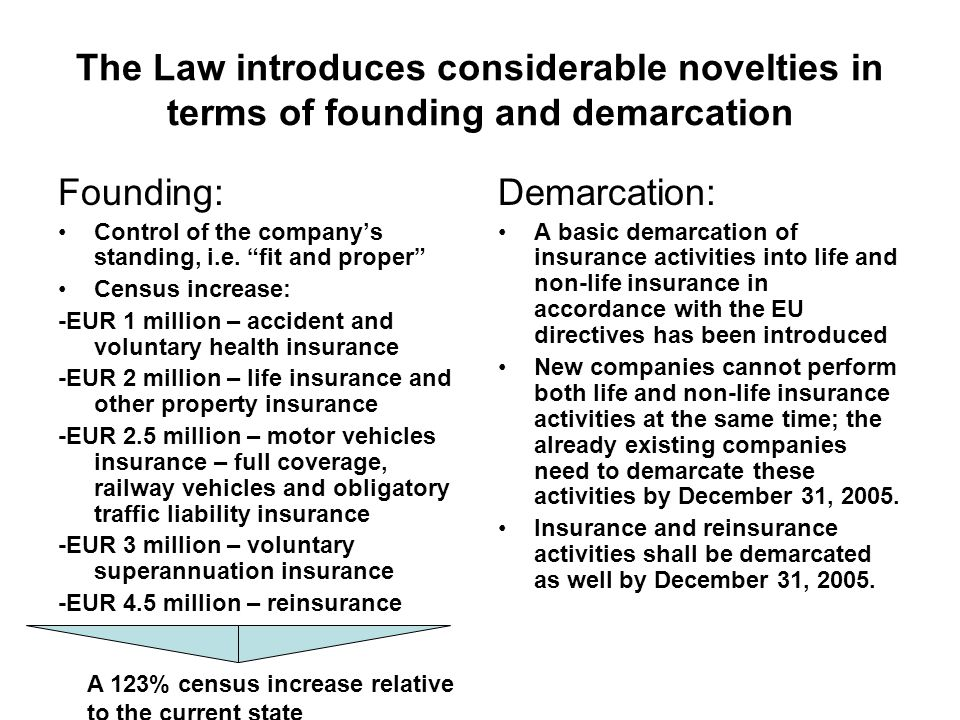 The Law introduces considerable novelties in terms of founding and demarcation Founding: Control of the companys standing, i.e.