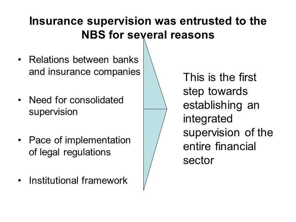 Insurance supervision was entrusted to the NBS for several reasons Relations between banks and insurance companies Need for consolidated supervision Pace of implementation of legal regulations Institutional framework This is the first step towards establishing an integrated supervision of the entire financial sector
