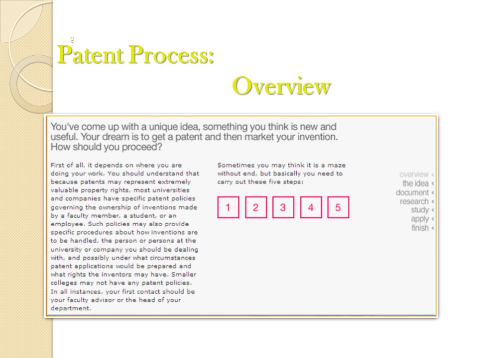 Patent Process: Overview 9