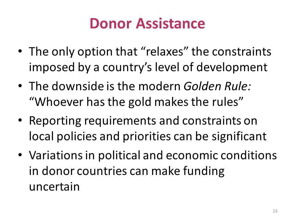Donor Assistance The only option that relaxes the constraints imposed by a countrys level of development The downside is the modern Golden Rule: Whoev