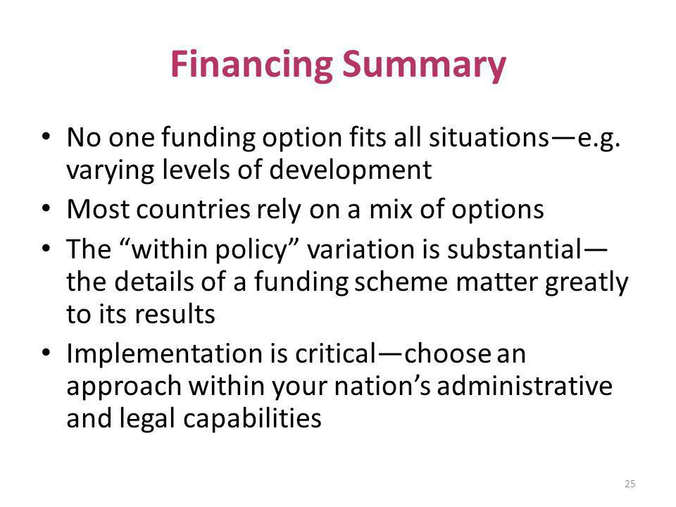 Financing Summary No one funding option fits all situationse.g. varying levels of development Most countries rely on a mix of options The within polic