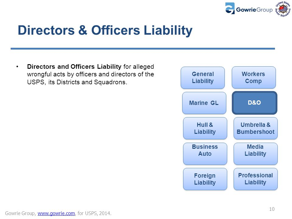 Directors & Officers Liability Directors and Officers Liability for alleged wrongful acts by officers and directors of the USPS, its Districts and Squ