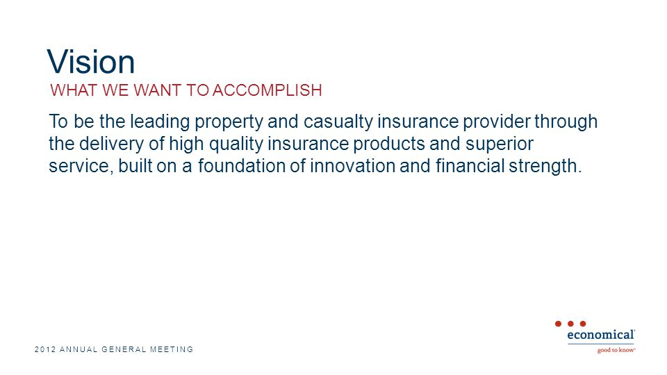 Vision To be the leading property and casualty insurance provider through the delivery of high quality insurance products and superior service, built on a foundation of innovation and financial strength.