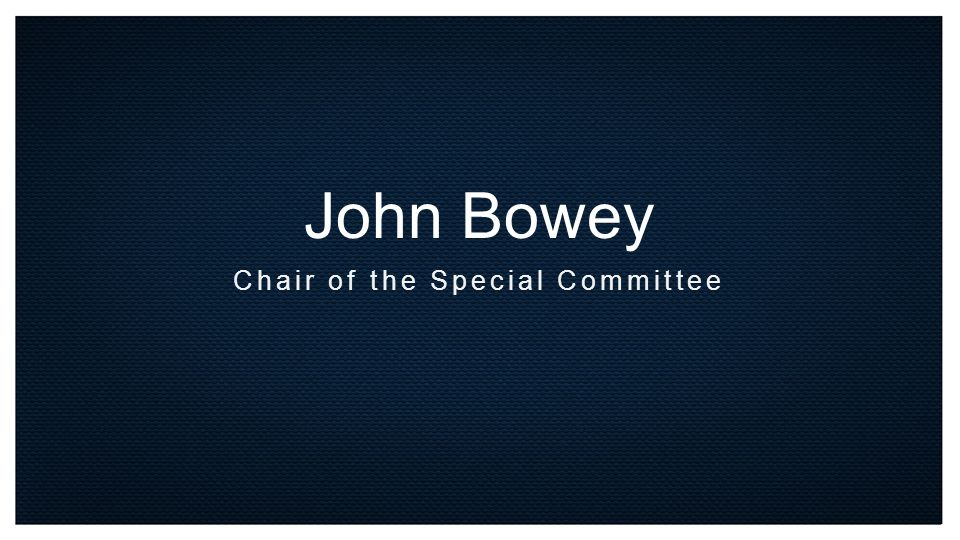 John Bowey Chair of the Special Committee