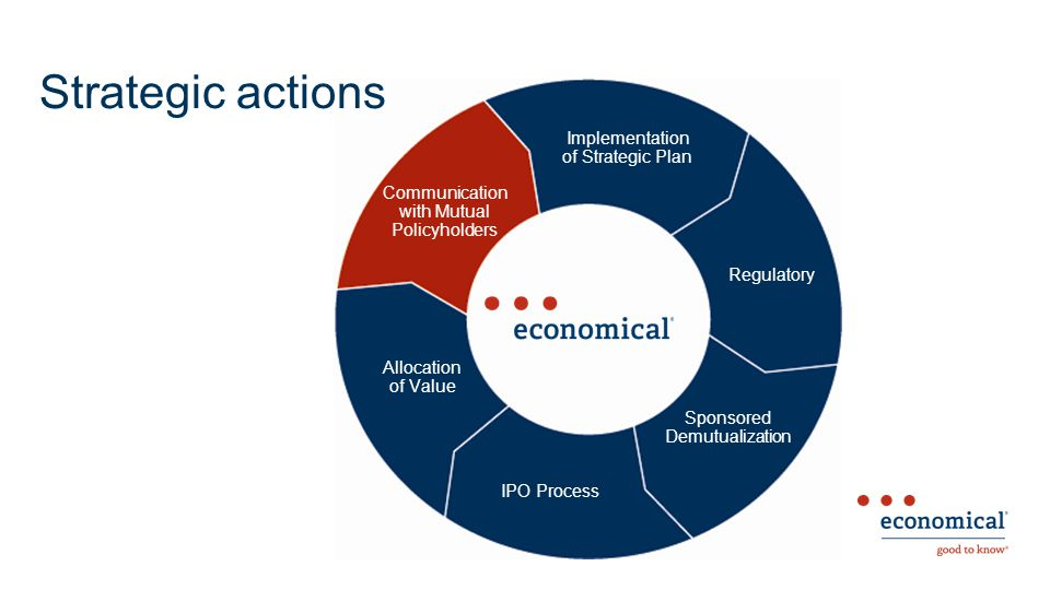 Strategic actions Sponsored Demutualization IPO Process Allocation of Value Communication with Mutual Policyholders Implementation of Strategic Plan Regulatory