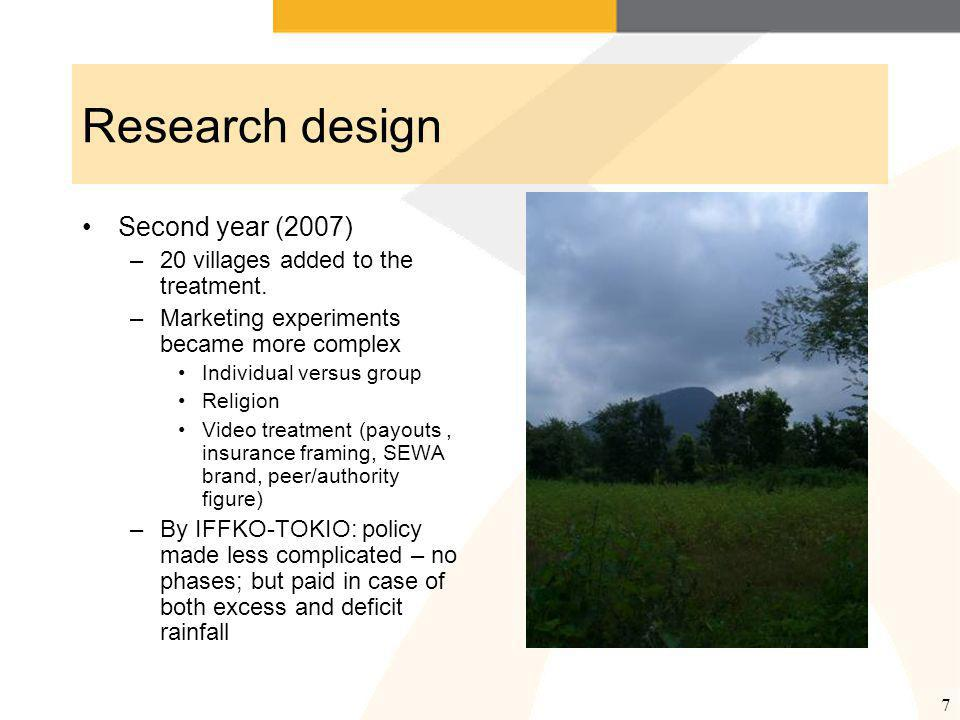 7 Research design Second year (2007) –20 villages added to the treatment.