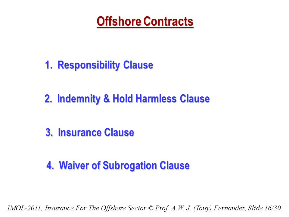 Offshore Contracts 1. Responsibility Clause 2. Indemnity & Hold Harmless Clause 3. Insurance Clause 4. Waiver of Subrogation Clause IMOL-2011, Insuran