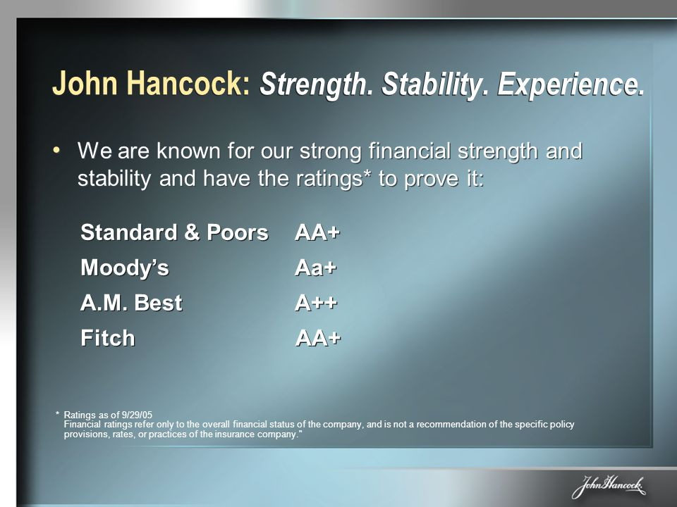 John Hancock: Strength. Stability. Experience. We are known for our strong financial strength and stability and have the ratings* to prove it: Standar