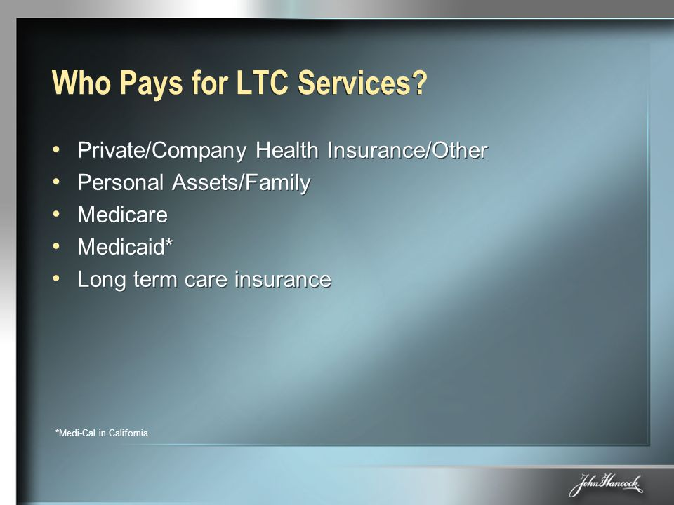 Who Pays for LTC Services? Private/Company Health Insurance/Other Personal Assets/Family Medicare Medicaid* Long term care insurance Private/Company H