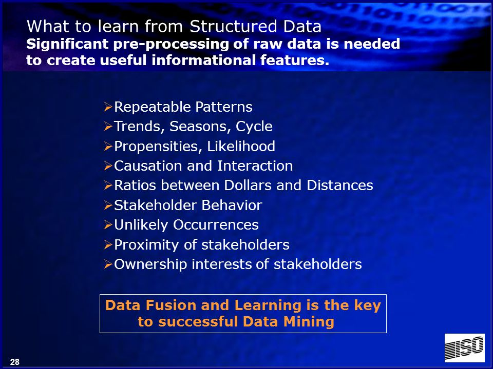 27 Structured data Semi-structured data Unstructured data Text Pictographic Graphics Multimedia Voice Video Geospatial Multi-Spectral Climatologic Atmospheric Types of Data and the Data Opportunity
