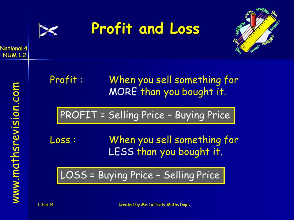 1-Jun-14Created by Mr. Lafferty Maths Dept. Profit and Loss Profit :When you sell something for MORE than you bought it. Loss :When you sell something