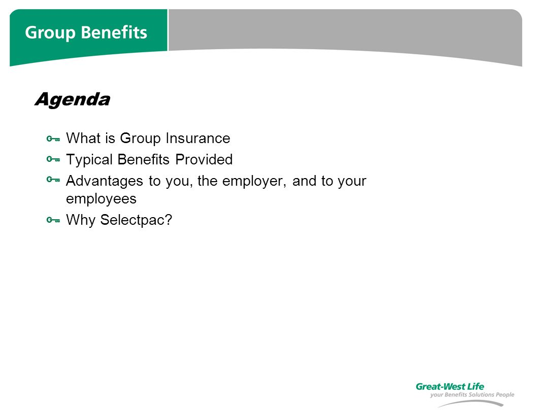 Agenda What is Group Insurance Typical Benefits Provided Advantages to you, the employer, and to your employees Why Selectpac?