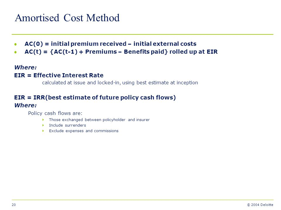 20 © 2004 Deloitte Amortised Cost Method l AC(0) = initial premium received – initial external costs l AC(t) = {AC(t-1) + Premiums – Benefits paid} ro