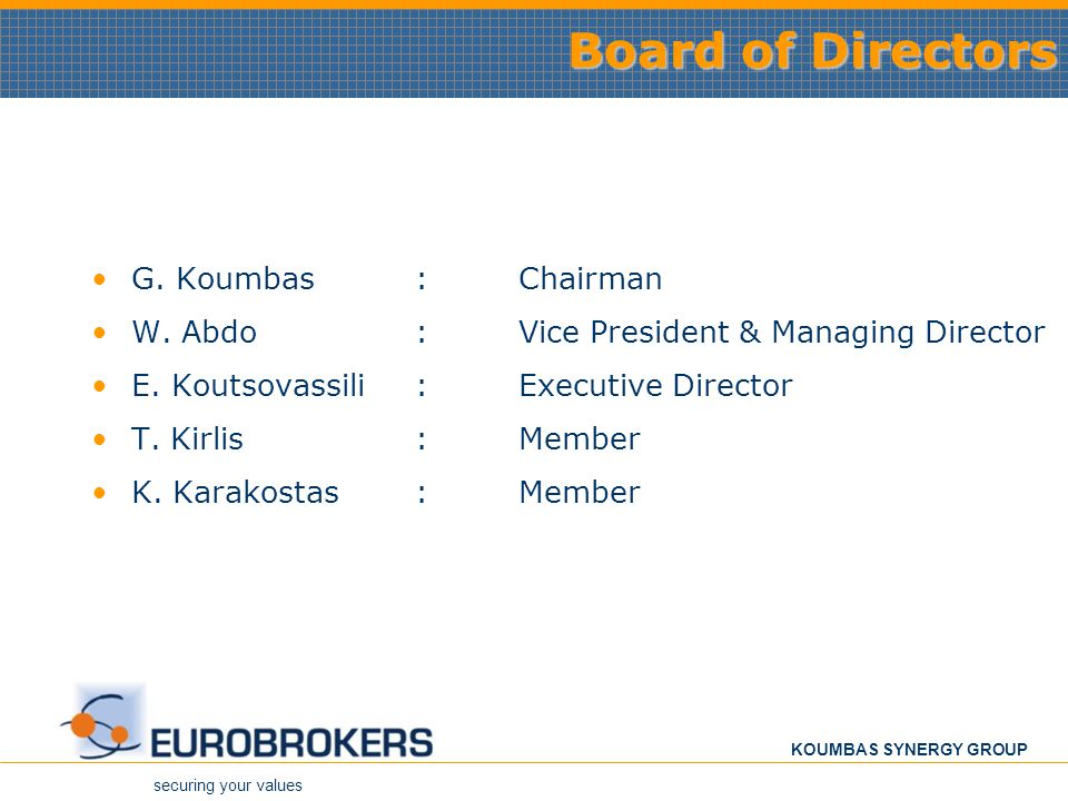securing your values KOUMBAS SYNERGY GROUP Board of Directors G.