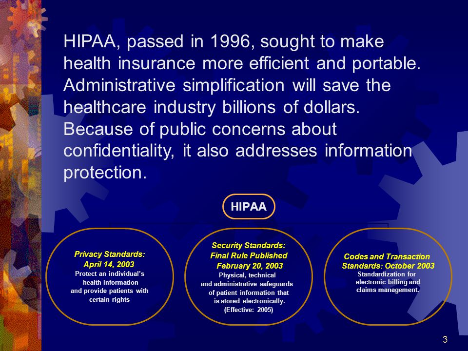 3 HIPAA Privacy Standards: April 14, 2003 Protect an individuals health information and provide patients with certain rights Security Standards: Final