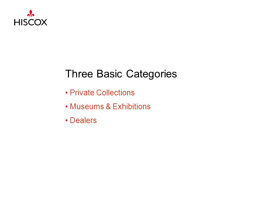 Three Basic Categories Private Collections Museums & Exhibitions Dealers