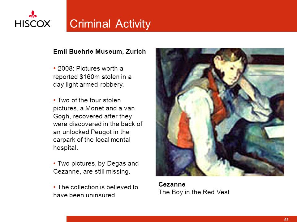 23 Criminal Activity 2008: Pictures worth a reported $160m stolen in a day light armed robbery.