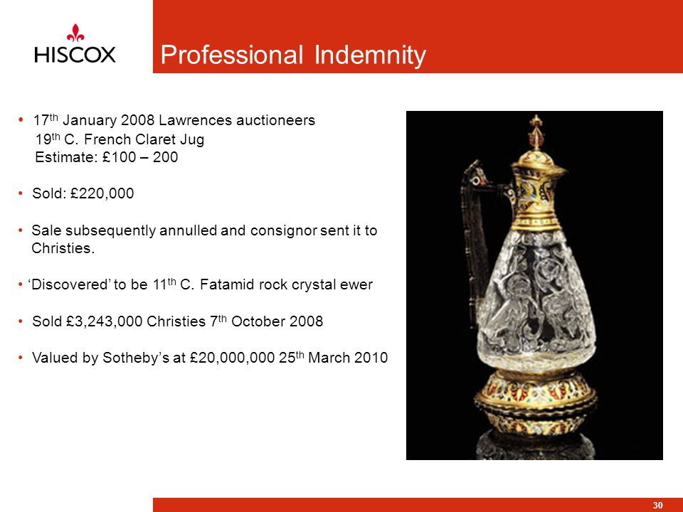30 Professional Indemnity 17 th January 2008 Lawrences auctioneers 19 th C. French Claret Jug Estimate: £100 – 200 Sold: £220,000 Sale subsequently an
