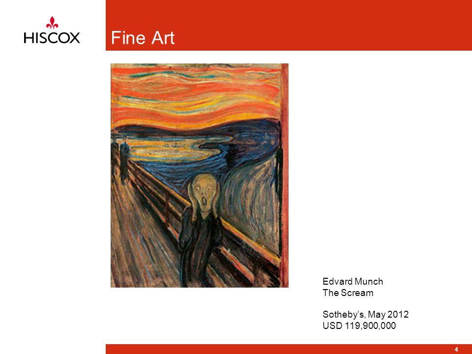 4 Fine Art Edvard Munch The Scream Sothebys, May 2012 USD 119,900,000