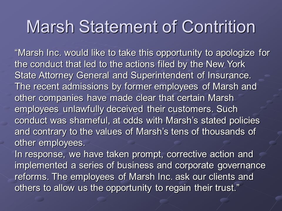 Marsh Statement of Contrition Marsh Inc.