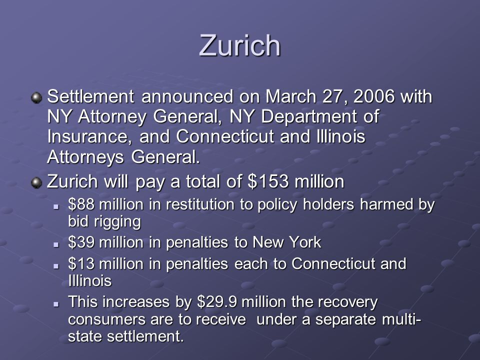 Zurich Settlement announced on March 27, 2006 with NY Attorney General, NY Department of Insurance, and Connecticut and Illinois Attorneys General. Zu