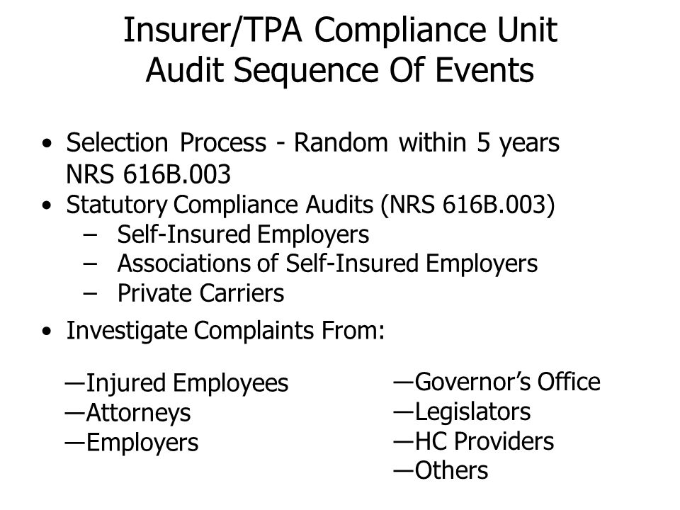 Insurer/TPA Compliance Unit Audit Sequence Of Events Selection Process - Random within 5 years NRS 616B.003 Statutory Compliance Audits (NRS 616B.003)