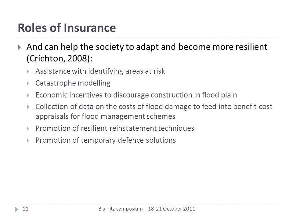 Roles of Insurance And can help the society to adapt and become more resilient (Crichton, 2008): Assistance with identifying areas at risk Catastrophe