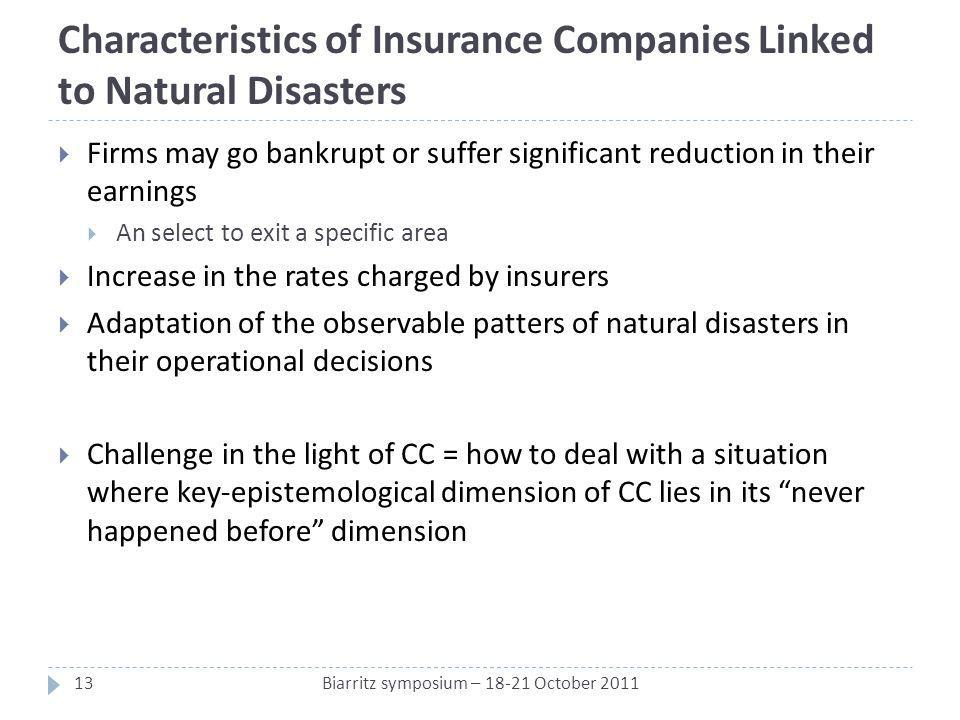 Characteristics of Insurance Companies Linked to Natural Disasters Firms may go bankrupt or suffer significant reduction in their earnings An select t