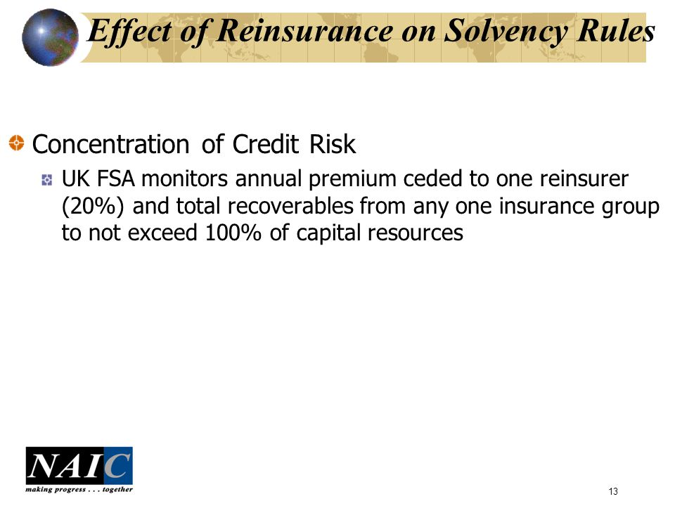 13 Effect of Reinsurance on Solvency Rules Concentration of Credit Risk UK FSA monitors annual premium ceded to one reinsurer (20%) and total recoverables from any one insurance group to not exceed 100% of capital resources