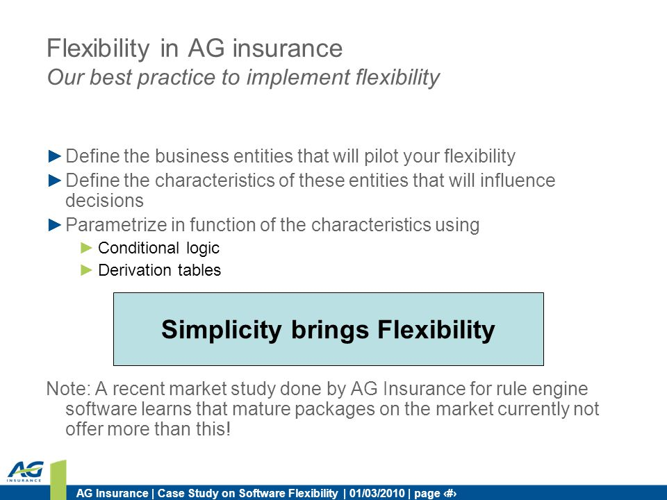 AG Insurance | Case Study on Software Flexibility | 01/03/2010 | page 34 Flexibility in AG insurance Our best practice to implement flexibility Define