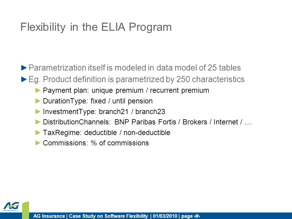 AG Insurance | Case Study on Software Flexibility | 01/03/2010 | page 35 Flexibility in the ELIA Program Parametrization itself is modeled in data mod