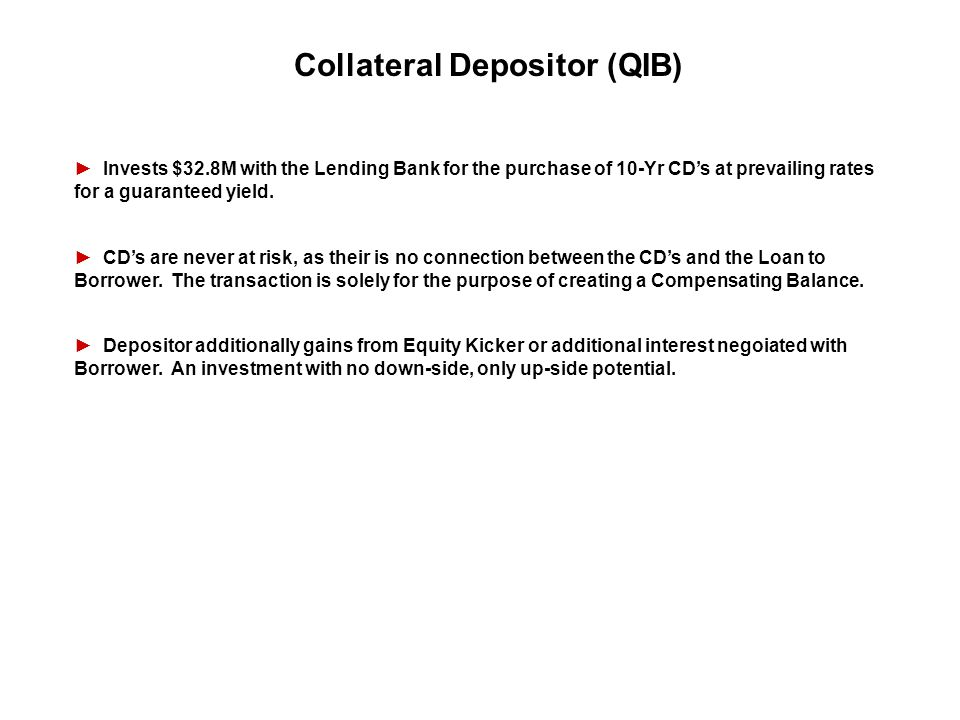 Collateral Depositor (QIB) Invests $32.8M with the Lending Bank for the purchase of 10-Yr CDs at prevailing rates for a guaranteed yield. CDs are neve