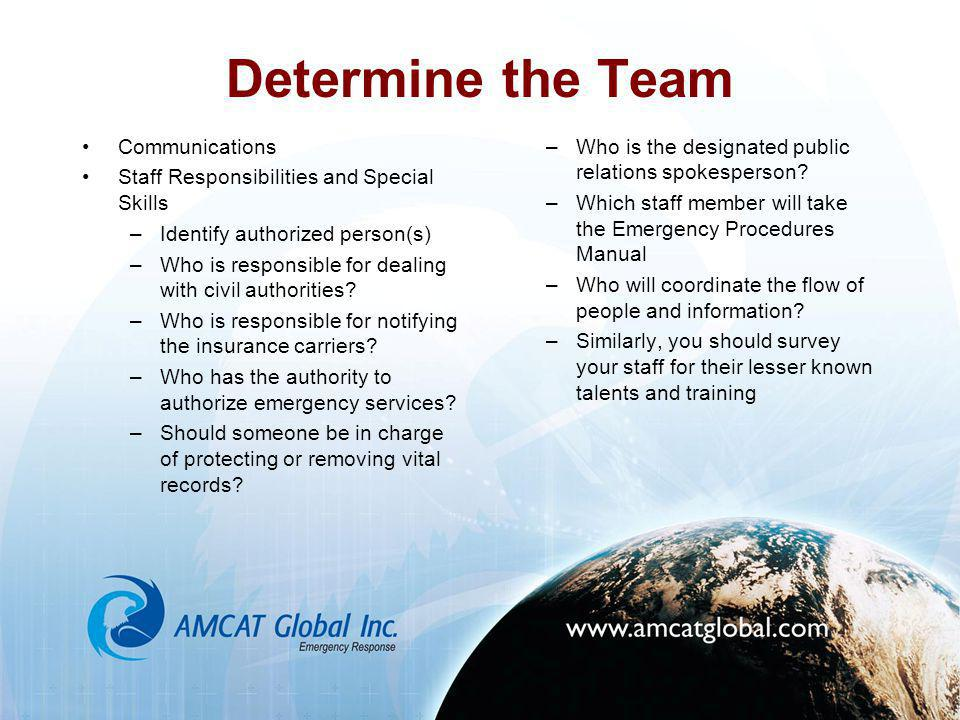 Determine the Team Communications Staff Responsibilities and Special Skills –Identify authorized person(s) –Who is responsible for dealing with civil