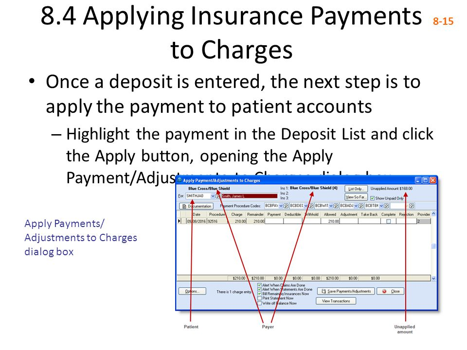 8.4 Applying Insurance Payments to Charges 8-15 Once a deposit is entered, the next step is to apply the payment to patient accounts – Highlight the p
