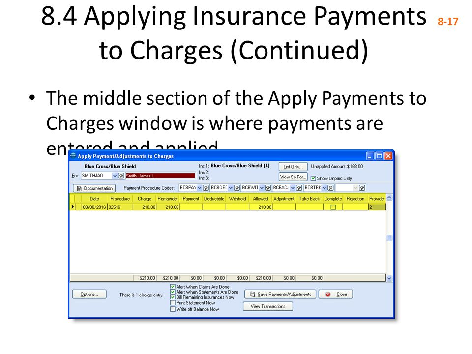 8.4 Applying Insurance Payments to Charges (Continued) 8-17 The middle section of the Apply Payments to Charges window is where payments are entered a