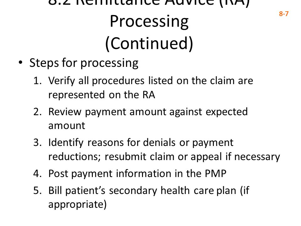 8.4 Applying Insurance Payments to Charges (Continued) 8-18 The lower third of the Apply Payment/Adjustments to Charges window contains several options that affect claims and statements Exercise 8-2 page 26 Exercise 8-3 page 267 Exercise 8-4 page 268