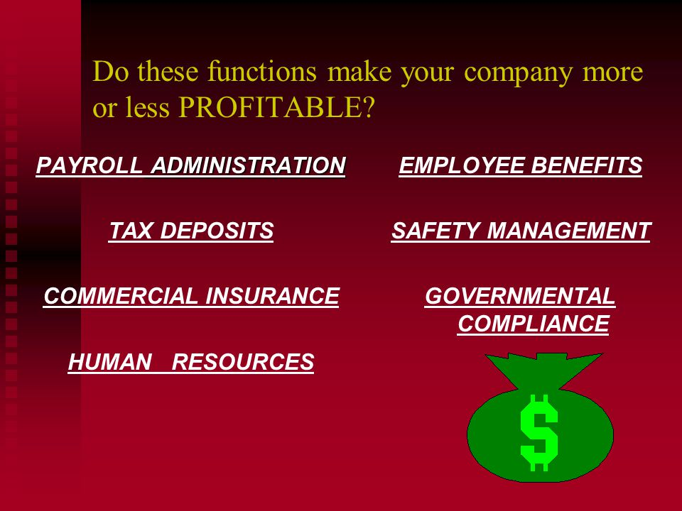 Do these functions make your company more or less PROFITABLE? PAYROLL ADMINISTRATION TAX DEPOSITS COMMERCIAL INSURANCE HUMAN RESOURCES EMPLOYEE BENEFI