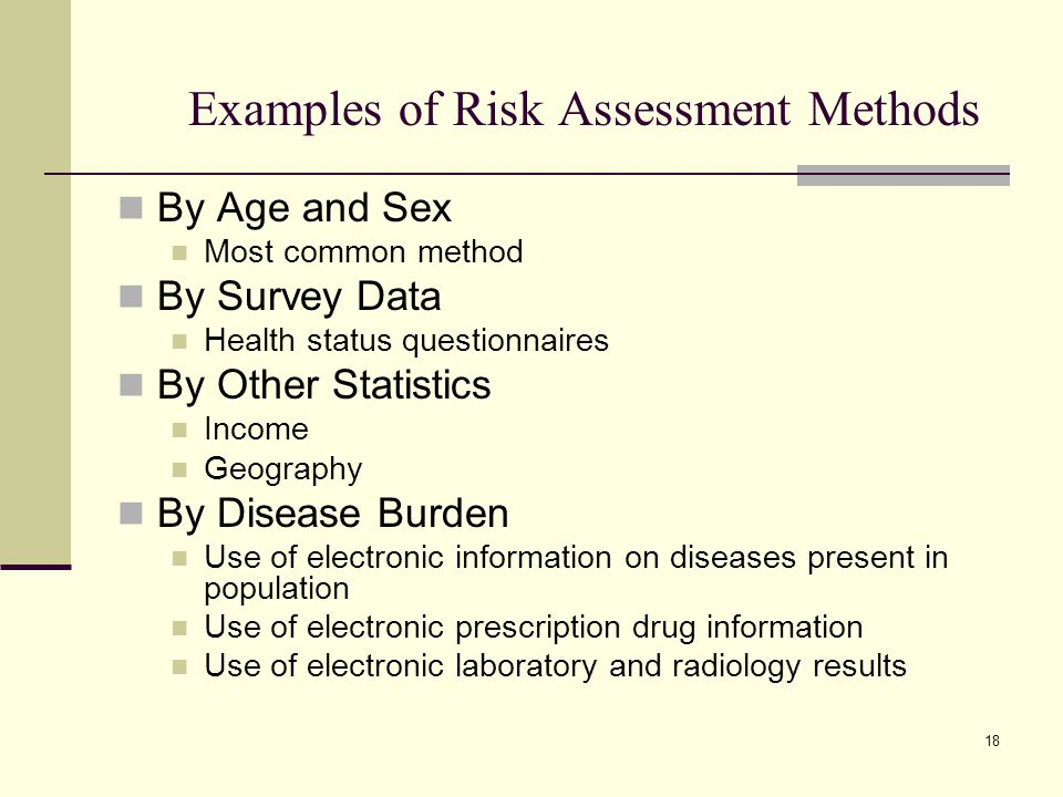 18 Examples of Risk Assessment Methods By Age and Sex Most common method By Survey Data Health status questionnaires By Other Statistics Income Geogra