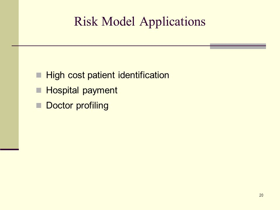 20 Risk Model Applications High cost patient identification Hospital payment Doctor profiling