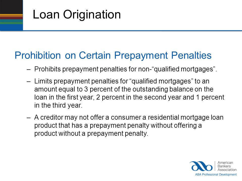Loan Origination Prohibition on Certain Prepayment Penalties –Prohibits prepayment penalties for non-qualified mortgages.
