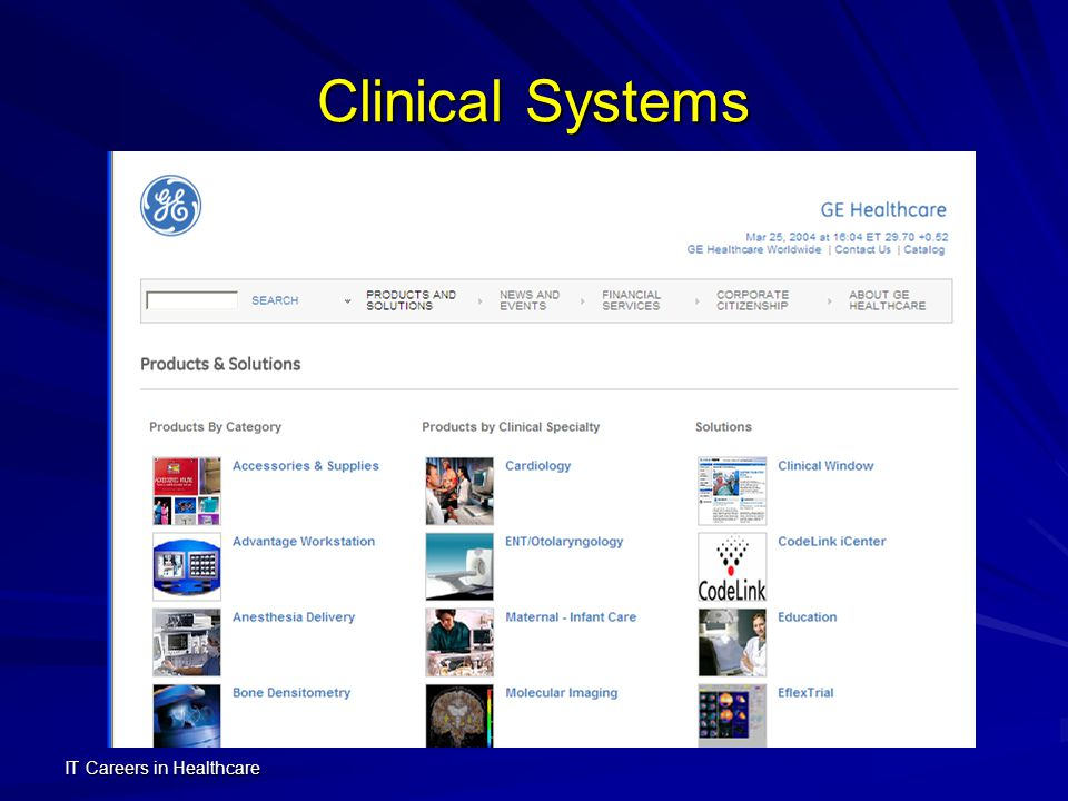 IT Careers in Healthcare Areas of Healthcare IT Transaction Systems Clinical Systems Patient-Connected Systems Telemedicine DiagnosisDiagnosis TreatmentTreatment MonitoringMonitoring E-Health ContentContent ConnectivityConnectivity CommunityCommunity Clinical CareClinical Care Web Transactions InsuranceInsurance RecordsRecords BillingBilling