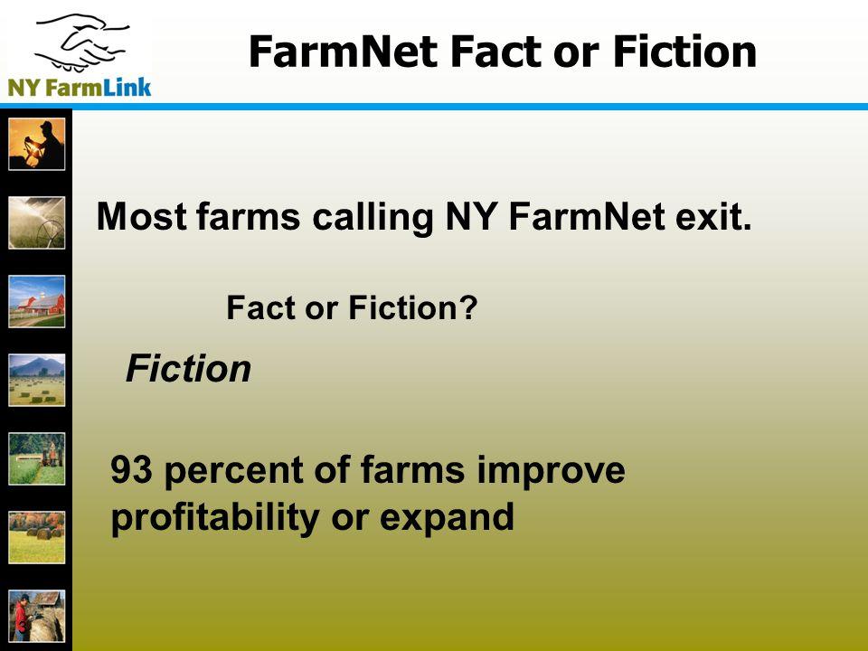 FarmNet Fact or Fiction 3 Most farms calling NY FarmNet exit.