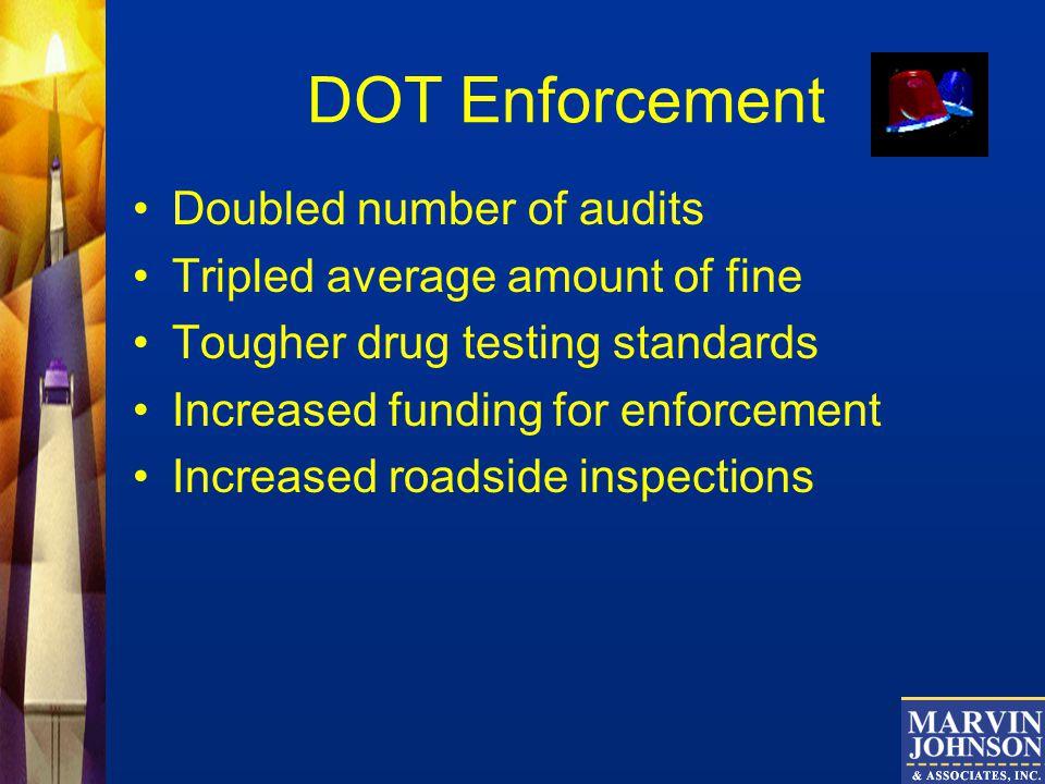 DOT Enforcement Doubled number of audits Tripled average amount of fine Tougher drug testing standards Increased funding for enforcement Increased roadside inspections