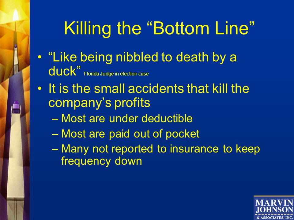 Killing the Bottom Line Like being nibbled to death by a duck Florida Judge in election case It is the small accidents that kill the companys profits –Most are under deductible –Most are paid out of pocket –Many not reported to insurance to keep frequency down