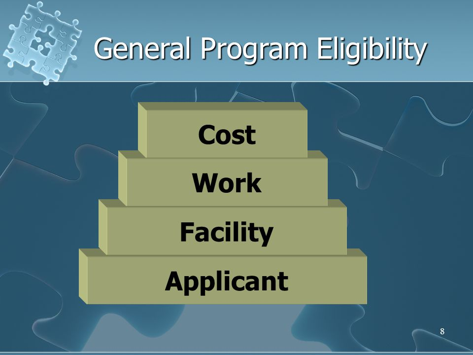 8 Applicant Facility Work General Program Eligibility Cost