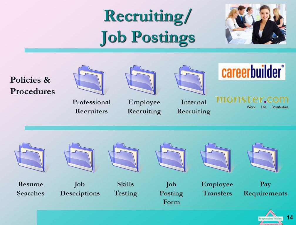 14 Pay Requirements Resume Searches Recruiting/ Job Postings Policies & Procedures Professional Recruiters Employee Recruiting Internal Recruiting Job Descriptions Skills Testing Job Posting Form Employee Transfers