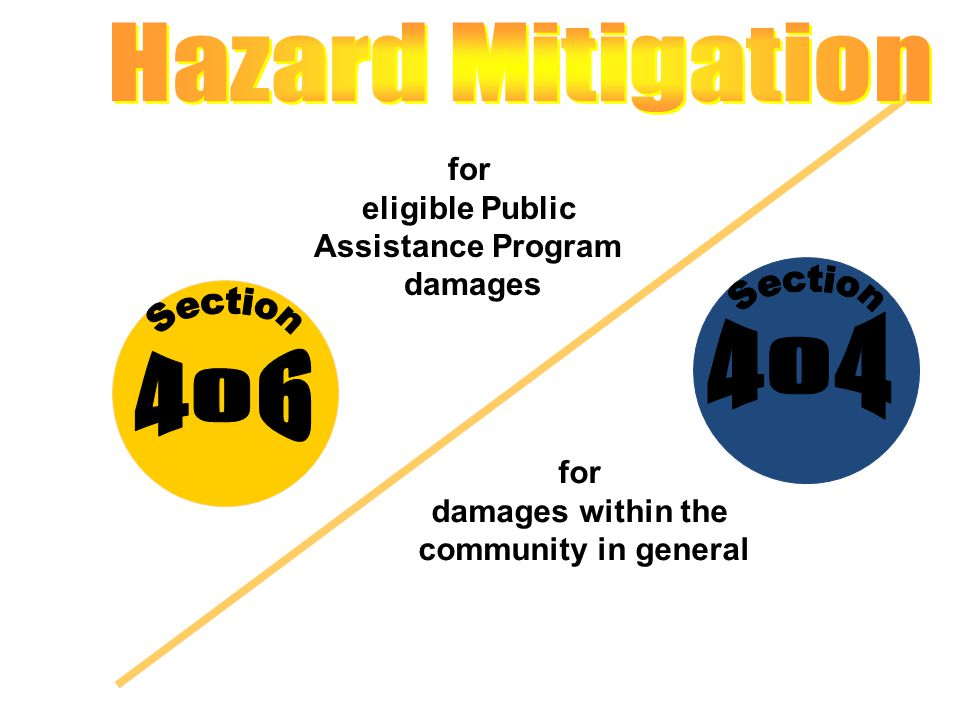 for eligible Public Assistance Program damages for damages within the community in general
